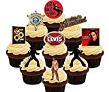 : Elvis Presley Party Pack, Edible Cake Decorations - Stand-up Wafer Cupcake Toppers