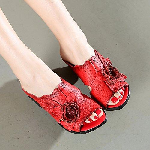 ZYUSHIZ Mme Chaussons Cool High-Heel Texte gras avec Kit Broche Chaussons sandales 38EU