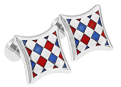 Ashton & Finch Rot Blau und Silber Harlequin Manschettenknöpfe.Neuheit. Geschäft. Mode. Hochzeit
