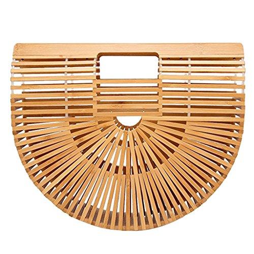 Homyl Frauen Mädchen Bambus Handtasche Strandtasche Korbtasche Sommer Vintage Handarbeit Handgelenkstasche - Beige Klein (Bambus-griff-handtasche)