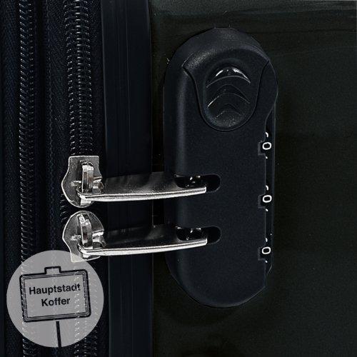HAUPTSTADTKOFFER - Alex - 3er Koffer-Set Trolley-Set Rollkoffer Reisekoffer Erweiterbar, 4 Rollen, (S, M & L), Schwarz - 3