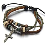 COOLSTEELANDBEYOND Stammes Kreuz Braun Lederarmband Herren Damen Armband Leder Wickeln Schweißband Das Neue Konzept