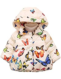 HENGSONG Hiver Enfant Bébé Fille Papillon imprimé Coton Manteau Parka Down Manteau de neige Vêtements d'extérieur pendant 0 à 24 mois