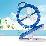 Wenyan USB Mini Ventiladores De Escritorio Silencioso Portátil De Enfriamiento Eléctrico De Escritorio LED Nightlight Linterna Clip De Ventilador,Blue