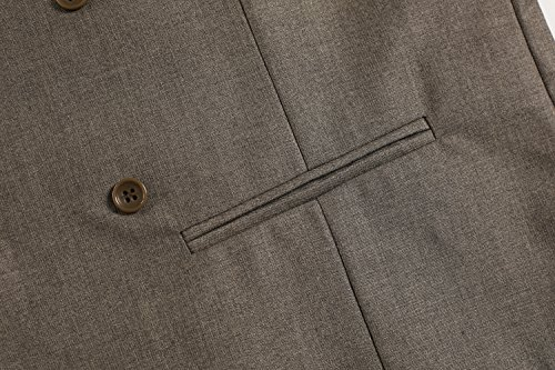 ZEARO Herren Anzug weste V-Ausschnitt Zweireiher für Hochzeit Business Fest schwarz blau grau braun S M L XL XXL Dunkelbraun