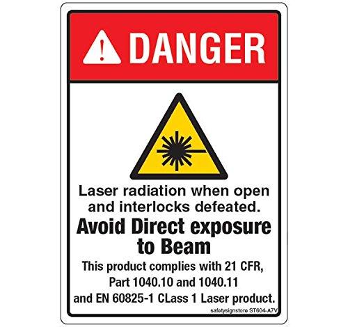Safety Sign Store st604-a7pc-01pericolo radiazioni laser materiale adesivo 3M in policarbonato, 0,25mm 74x 105W