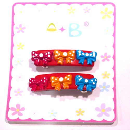 rougecaramel - Accessoires cheveux - Barrette cheveux enfant nœuds 2pcs - rouge