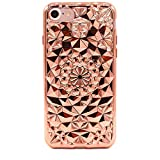 Traumstein iPhone 6 6S Hülle Silikon Glitzer Schutzhülle Handy Case Silikon 3D Diamant Muster Bling TPU iPhone 6 Bumper Case Weich Flexibel Silikon Hülle Handyhülle für iPhone 6 / 6S Farbe Rosa