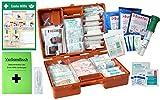 Erste-Hilfe-Koffer Gastro PRO + für Betriebe DIN/EN 13169 inkl. AUSHANG, Augenspülung + Brandgel + detektierbare Pflaster + Hydrogelverbände