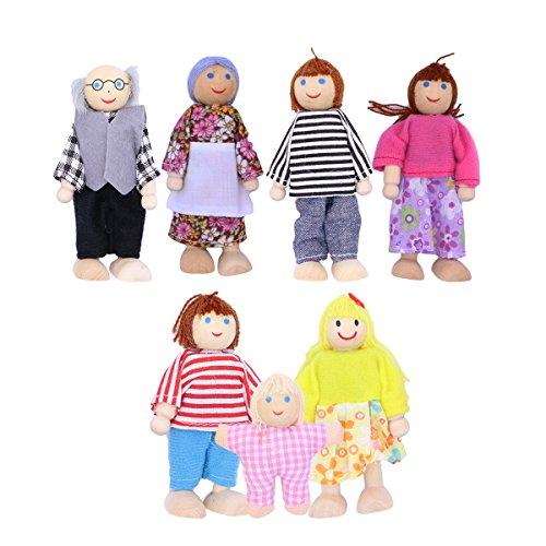 ROSENICE Wooden Dolls Familiy for Dollhouse 7pcs