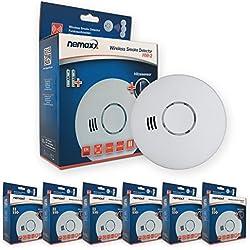 Nemaxx 6X HW-2 Funkrauchmelder - Hochwertiger Rauchmelder mit kombiniertem Rauch- und Thermosensor - Hitzemelder nach Din EN 14604