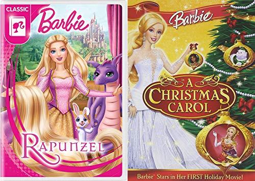 Fabulous Rapunzel Barbie Classic DVD + Barbie in A Christmas Carol Cartoon DVD Double Feature Bundle 2 Pack