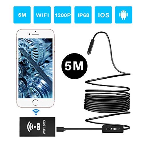 Preisvergleich Produktbild ERAY Drahtlose Endoskopkamera WiFi 5m (16.5FT), Inspektionskamera 2.0MP HD 1200P Wasserdicht IP68 mit 8 LEDs, Semi-Rigid Boreskopkamera unterstützt Android/IOS/Windows und Mac System