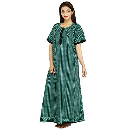 Silver Org.Womens Printed Nighty Nightwear Cotton Maxi Dress Sleepwear Nightgown