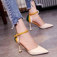 Chaussures Simples Femmes Tout Match Boucle Carrée Pointue Bouche Peu Profonde Fond Plat Carrière Chaussures Occasionnels , noir , 35,5 EUR