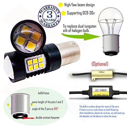 Preisvergleich Produktbild Wiseshine ba15d led birne lampen DC9-30v 3 Jahre Qualitätssicherung (2 Stück) Hoch- / Abblendlicht ba15d 22smd 3030 Gelb