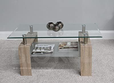 New Modern Rectangle Coffee Table - Clear Glass Top with Chrome & Natural Finish