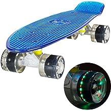 LAND SURFER® Skateboard Cruiser Retro Completo 56cm con tabla coloreada transparente - cojinetes ABEC-7 - Ruedas que se iluminan 59mm PU + bolsa para el transporte - Tabla Azul Transparente/Ruedas Negras LED