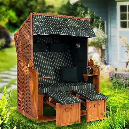 Möbelcreative Strandkorb Ostsee XXL Volllieger 2 Sitzer - 120 cm breit - grün weiß gestreift inklusive Schutzhülle, ideal für Garten und Terrasse