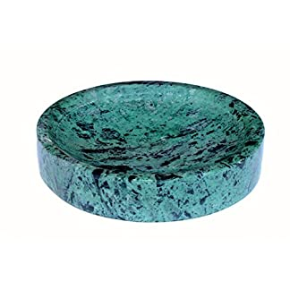 51L4z3NAUcL. SS324  - KLEO Jabonera Piedra Natural en Color Verde redonda - Accesorio de Baño para Lavabo de Cuarto de Baño, Cocina o Sala de estar