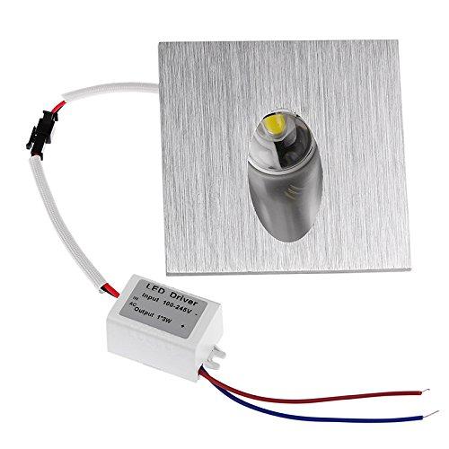 LED Einbaustrahler Wand Lampe eckig LED Einbauleuchte Schritt Treppen Lampe Veranda Wegeleuchte 1 W Keller Leuchtmittel AC 100–245V (Warm Weiß, 1 Pack) - Led-solid-state-beleuchtung