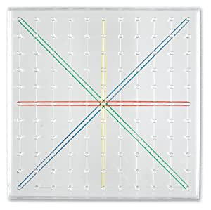 Learning- Geoplano Transparente de 23 cm de Lado de 11 x 11 Clavijas, Color (LER0917)