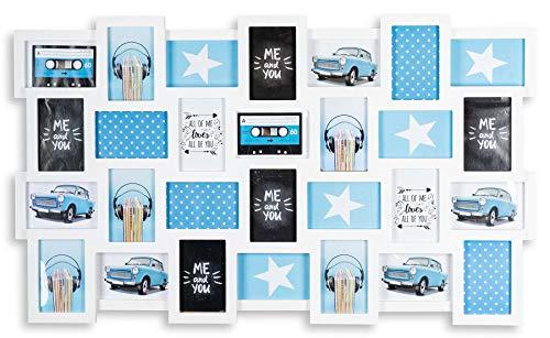levandeo Bilderrahmen Collage 98x58cm 28 Fotos 10x15 weiß MDF Holz Fotorahmen Galerie fertig montiert Rahmen Wanddeko