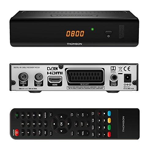 fernseher mit usb aufnahme THOMSON THC301 HD Receiver für digitales Kabelfernsehen DVB-C Full HD (HDTV, HDMI, SCART, USB, Mediaplayer) schwarz