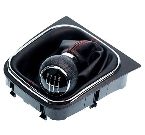 L&P A256-1 Schaltsack Schaltmanschette in Schwarz mit roter Naht + Schaltknauf + Rahmen als Komplettset mit 6 Gang Knauf als Plug Play Ersatzteil für 1K0711113 + 5K0711113 + 1K8711113 (Naht rot)