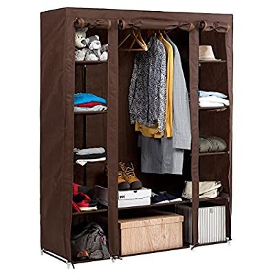 Artmoon Montana Big Foldable Wardrobe Bedroom Furniture Hanging Clothes Rail, 12 Shelves and Shoe Shelf 135X45X175cm - low-cost UK light store.