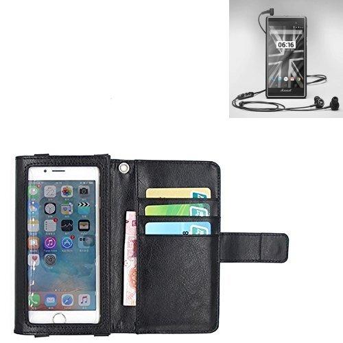 K-S-Trade Für Marshall London Schutz Hülle Case mit Displayschutz/Schutzfolie Flip Cover Wallet case Etui Hülle für Marshall London schwarz