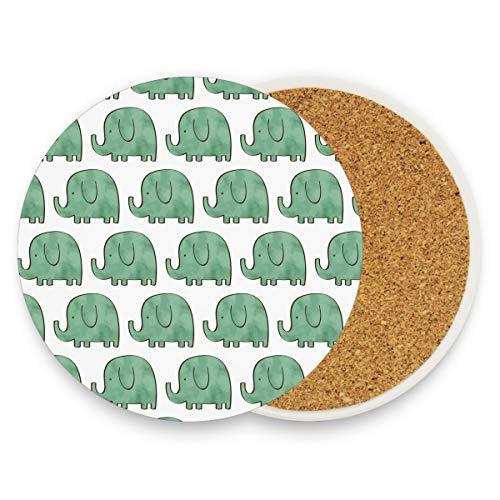 Blue Elephants - Posavasos redondos absorbentes de cerámica para bebidas, diseño de...