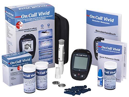Swiss Point Of Care Vivid Blutzucker Messgerät | Praktisches Starterpack mit 10 Teststreifen, 10 Lanzetten, 1 Stechhilfe, Kontrolllösung | sekundenschnelles Ergebnis | Maßeinheit: mg/dl