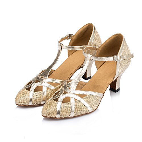 Malha De Mulheres Sapatos Dança Alto Salto Ballrom Latina Das Meijili De De Moderna Tango Salsa Ouro 774nwB6q
