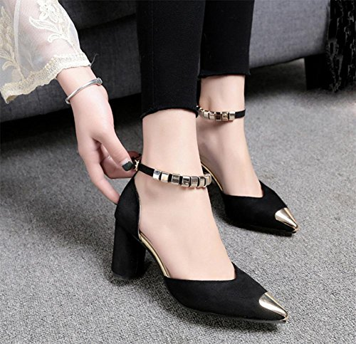 Sommer Sandalen Baotou Sandalen und Pantoffel wiesen hochhackige Sandalen mit dicken Schuhen Black