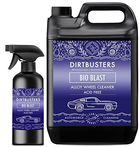 Dirtbusters Bio Blast Felgenreiniger, Reiniger für Leichtmetallfelgen, säurefrei, nicht ätzend, Bio-Technologie, 5Liter + 500ml in der Sprühflasche - Clean Blast