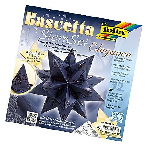 Folia 214/1010 - Bastelset Bascetta Stern, Elegance, 9,5 x 9,5 cm, 32 Blatt, Indian Dreams blau