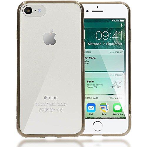 iPhone 8 / 7 Hülle Handyhülle von NICA, Durchsichtiges Slim Silikon Case Transparente Rückseite & Bumper, Crystal Schutz Cover Etui Dünn, Handy-Tasche Backcover für Apple iPhone 7 / 8 - Pink Transparent / Grau