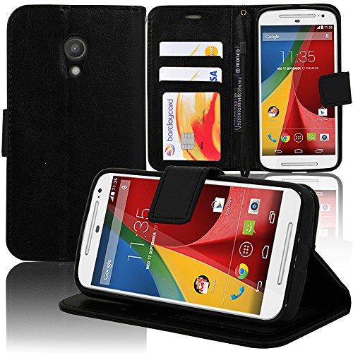 VCOMP® Motorola Moto G2 II G+1 2014 (2nd gen)/ G2 Dual SIM/ Moto G 4G LTE 2015 XT1072/ 4G LTE 2015 Dual SIM XT1068 : Etui portefeuille cuir PU Livre rabat support vidéo - NOIR