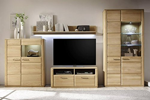 Dreams4Home Wohnkombination 'Yascha V' 4-teilig, Eiche Bianco massiv, optional mit Beleuchtung, Schrank, TV-Schrank, TV Element, Wohnwand, Wohnelement, Wohnzimmer, Regalwand, Highboard, Vitrine, Beleuchtung:ohne Beleuchtung