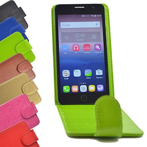 2 in 1 set Flip Tasche für Archos 50 Titanium 4G Slide Kleber Hülle Case Cover Schutz Bumper Etui Handyhülle in Grün