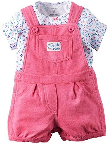 Carters's Latzhose + T-Shirt 50/56 Sommer Set Baby Mädchen Shorts Outfit girl Shorts US size newborn girl Blumen,Punkte (50/56 (newborn), rosa/blau) Carters Shirt