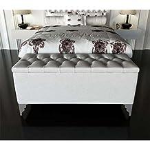 HOGARES CON ESTILO - Banqueta de polipiel y arcón tapizado de gran calidad. Color 1-201. De 46 x 120 x 70 cm. Disponible en varios colores