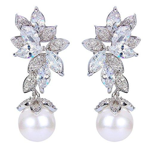 EVER FAITH® silver-tone CZ bianco perla simulata Splendida Marquise Forma Foglie orecchini di goccia trasparente N07546-1