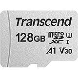 Transcend USD300S –Tarjeta microSD de 128 GB, SDXC, Clase 10, U1, A1, V30 (hasta 95 MB/s lectura, con adaptador SD)