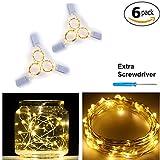 Enuoli Packung mit 6 LED Sternen Fairy String Lights mit 20 Micro-LEDs auf 7.2feet/2m versilberten Kupferdraht Lichterketten Batterie Betrieb mit 2xCR2032 für Party Weihnachten Tischdekorationen War