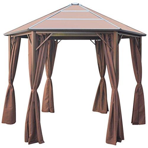Festnight gazebo classico esagonale con tende telaio in alluminio marrone tetto in pc da giardino/patio/pratio/mare/piscina per esterno 310x270x265 cm