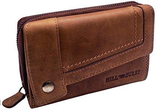 Hill Burry Echt-Leder Portemonnaie | XXL & Kompakt - Vintage Geldbörse aus hochwertigen Weichem...