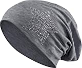 Jersey Baumwolle elastisches Long Slouch Beanie Unisex Herren Damen mit Strass Stern Steinen Mütze Heather in 35 (2) (Heather Dark Grey)