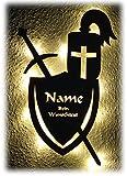 Schlummerlicht24 Licht & Deko Ritter Rüstung Helm Schwert und Schild I Ein LED Geschenk aus Holz mit Name Personalisiert und Optional mit Farbe